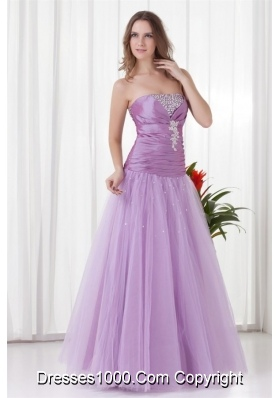 Romantic Lilac Strapless Tulle Prom Dress with Lace Up