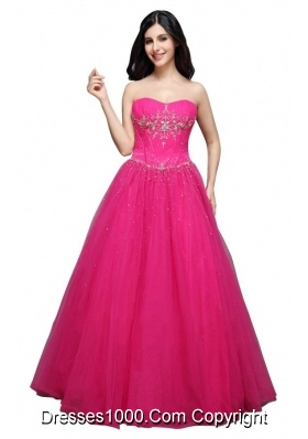 Hot Pink Strapless Appliques Organza Beading Prom Dress