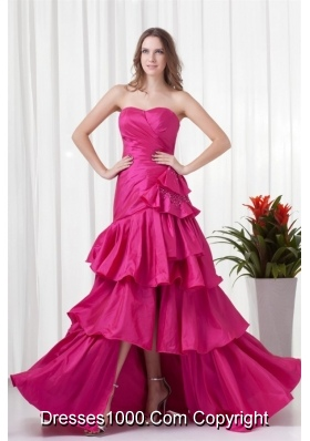 Fuchsia High Low Ruching Bowknot Taffeta Prom Gown Dress