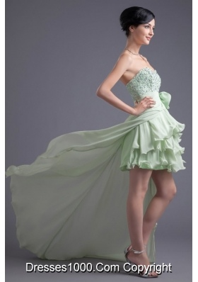 Light Green Sweetheart High-low Beading Chiffon Prom Dress