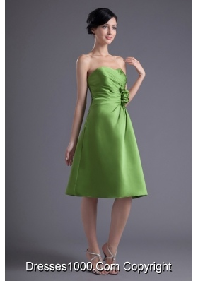 Olive Green Sweetheart Ruching Hand Made Flower Prom Dress