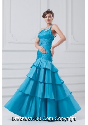 Wonderful One Shoulder Taffeta Beading Ruching Blue Prom Dress