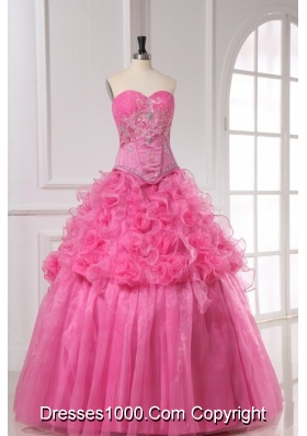 Rose Pink Appliques and Rolling Flowers Organza Quinceanera Dress