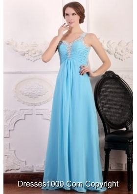 Aqua Blue One Shoulder Empire Chiffon Beading Decorated Prom Dress