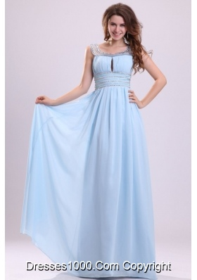 Baby Blue Empire Beading Scoop Chiffon Graduation Prom Dress