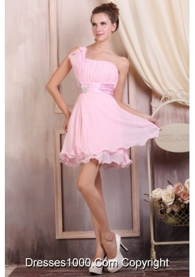 Sexy Baby Pink Strapless Mini-length Prom Dresses with Beading
