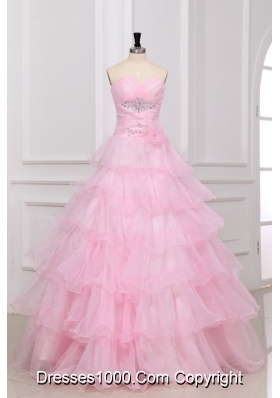 Beautiful Baby Pink Sweetheart Ruffles Layered Quinceanera Dress