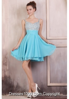 Lovely Chiffon Knee-length Aqua Blue Prom Dress With Straps