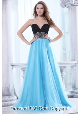 Black and Aqua Blue Prom Dress With Beading Decorated Waist