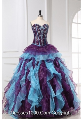 New Style Multi-color Quinceanera Dress with Ruffles And Beading