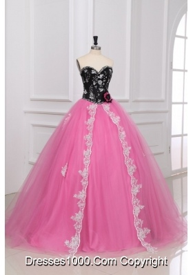 Black and Rose Pink Beading and Appliques Quinceanera Dress