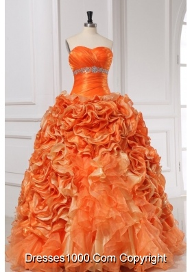 Eye Catching Orange Sweetheart Quinceanera Dress With Rolling Flowers