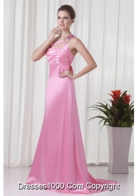 Pretty One Shoulder Brush Train Pink Prom Evening Dress