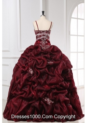 Pretty Burgundy Spaghetti Straps Quinceanera Dress For Little Girls