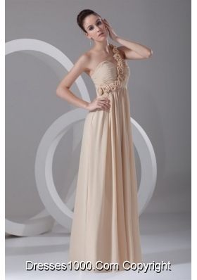Champagne One Shoulder Chiffon Prom Dress with Hand Flowers
