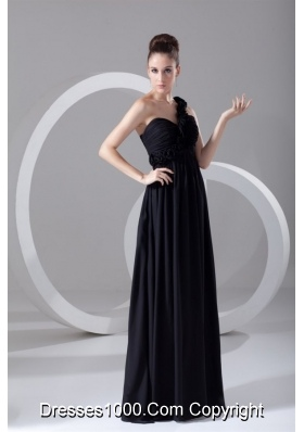 Simple Black Empire One Shoulder Prom Dress With Flowers
