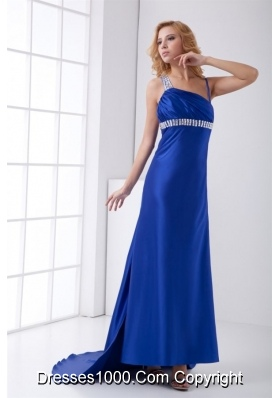 Perfect Backless Blue Column Prom Gown with Brush Train and Beading