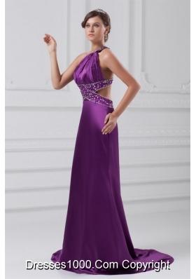 Sexy Purple One Shoulder Elastic Woven Satin Evening Dress