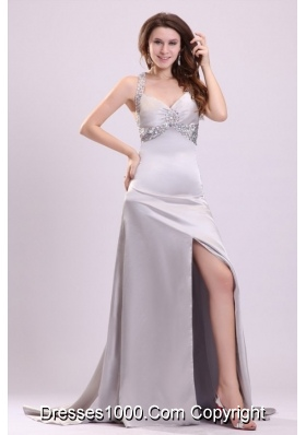 Noble Silver Straps Beading and Ruching High Slit Prom Dress