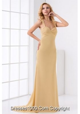 Pretty Champagne Chiffon Formal Evening Dress With Brush Train
