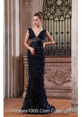 Column V-neck Navy Blue Brush Train Prom Dress with Sequins