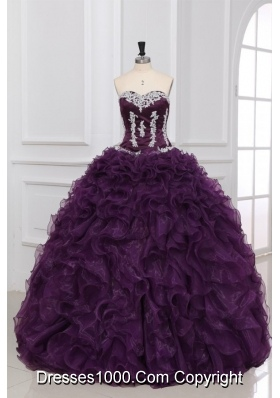 Ball Gown Dark Purple Quinceanera Dress with Appliques and Ruffles