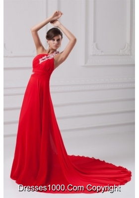 Elegant One Shoulder With Appliques Court Train Prom Dress