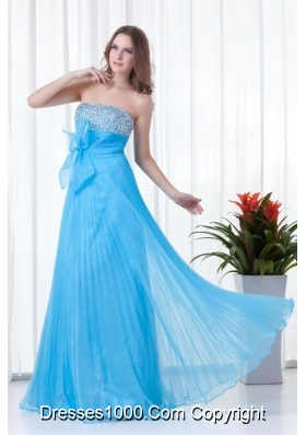 Elegant Empire Strapless Aqua Blue Long Prom Evening Dress