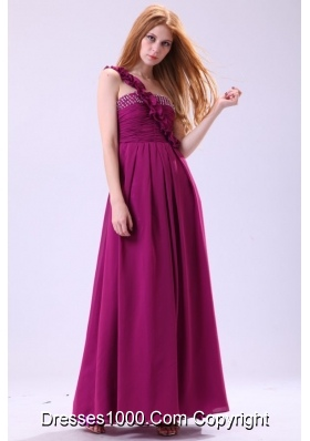 Chiffon Empire One Shoulder Ankle-length Purple Beading Prom Dress