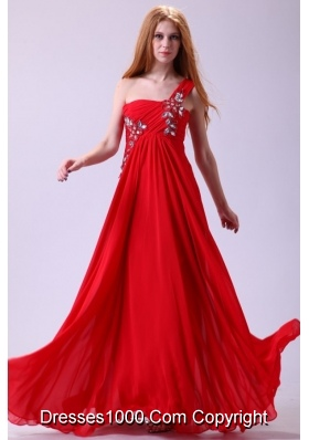 Empire One Shoulder Chiffon Red Prom Dress With Beading