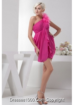 Hot Pink Chiffon Empire One Shoulder Mini-length Prom Dress