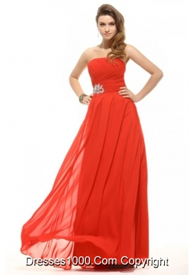 Fashion Strapless Empire Orange Red Prom Gowns with Beading Ruche