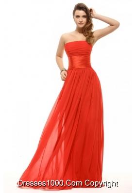Wonderful Empire Orange Red Strapless Ruching Prom Gown Dress
