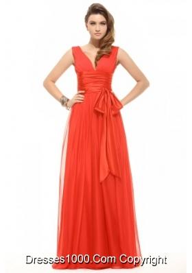 Popular Orange Red Empire V-neck Ruching Chiffon Prom Dress