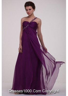 Purple Empire One Shoulder Ruching Appliques Long Prom Dress