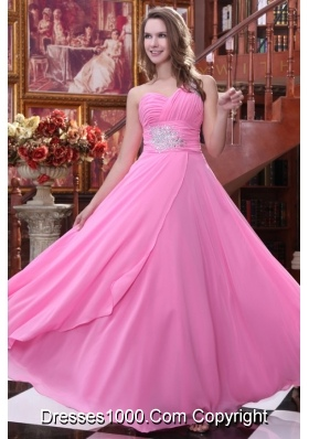 Sweet Rose Pink Empire One Shoulder Prom Gown Dress