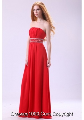 Beautiful Strapless Empire Red Floor-length Prom Evening Dress