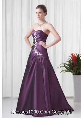 Elegant Empire Sweetheart Purple Appliques Formal Prom Dress
