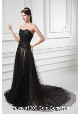 Graceful Formal Empire Sweetheart Black Tulle Ruching Prom Dress