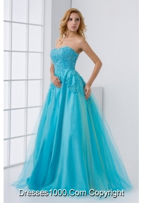 Gorgeous Princess Aqua Blue Floor Length Prom Gown Dress