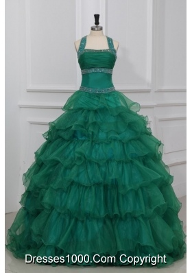 Green Halter Top Beading and Ruffles Layered Quinceanera Dress
