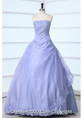 Simple Style Lavender Strapless Appliques Decorate Quinceanera Dress