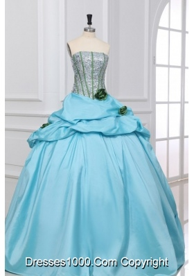 Light Blue Strapless Sequins with Hand Made Flowers Quinceanera Dress