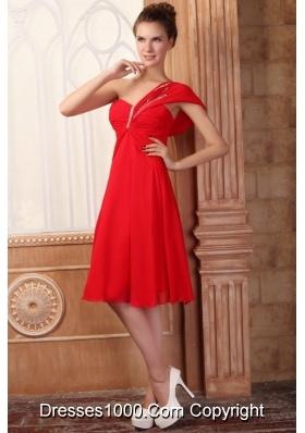 Affordable Summer One Shoulder Empire Red Knee-length Prom Dress