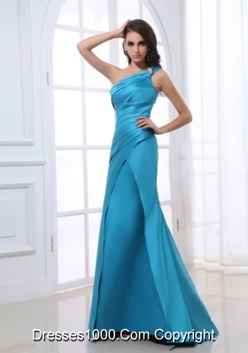 Blue Mermaid One Shoulder Ruching Beading Floor-length Prom Dress