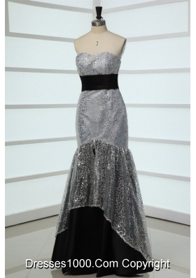 Most Beautiful Grey Mermaid Sweetheart Sequins Fitted Prom Dress