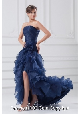 Navy Blue Strapless Ruffles High-low Style Prom Dress