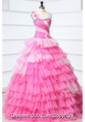 Sweet Pink One Shoulder Beading and Ruffles Layered Quinceanera Dress