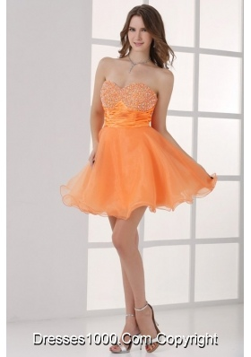 Orange Mini-length Sweetheart Beaded Short Prom Cocktail Dress