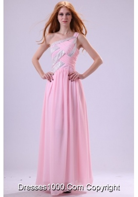 Pretty Baby Pink One Shoulder Floor-length Chiffon Prom Dress